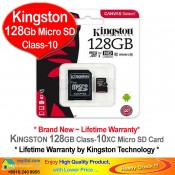 Kingston 128GB Micro SD Class-10 Memory Card with Adapter (SDSC10/128G)