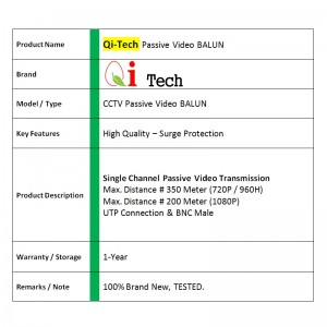 CCTV Passive Video BALUN For TVI AHD CVI HD - 1 Pair / 2 Units (UTP To BNC)