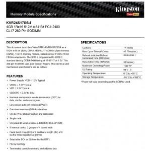 Kingston DDR4 RAM 4GB 2400MHz PC4-2400 Laptop Notebook RAM (KVR24S17S6/4G)