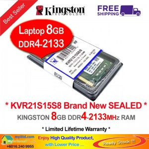 Kingston DDR4 RAM 8GB PC4-2133MHz Laptop Notebook RAM (KVR21S15S8/8G)
